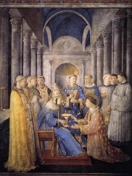 Fra-Angelico-Ordination-de-Saint-Laurent Ministre du sang du Christ