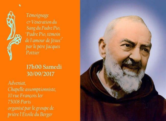 Fleure-de-la-naissance-du-Padre-Pio-Flyer Témoignage : «Padre Pio, témoin de l'amour de Jésus» par le père Jacques Pottier, chanoine de la cathédrale de Chartres.