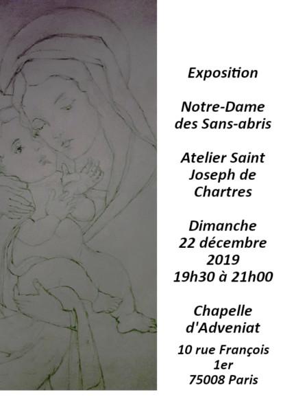 Invitation-Notre-Dame-de-Chartres-2019 19h30 Dimanche 22 décembre à Adveniat : Exposition «Notre-Dame des Sans-abris» Atelier Saint Joseph